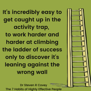"Picture of a ladder with the quote ""It's incredibly easy to get caught up in the activity trap, to work harder and harder at climbing the ladder of success only to discover it's leaning against the wrong wall"" Dr Stephen R Covey The 7 Habits of Highly Effective People"